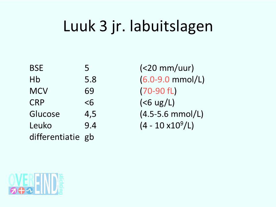 Luuk 3 jr. labuitslagen BSE 5 (<20 mm/uur) Hb 5.8 (6.0-9.0 mmol/L)