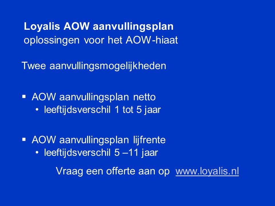 Loyalis AOW aanvullingsplan oplossingen voor het AOW-hiaat