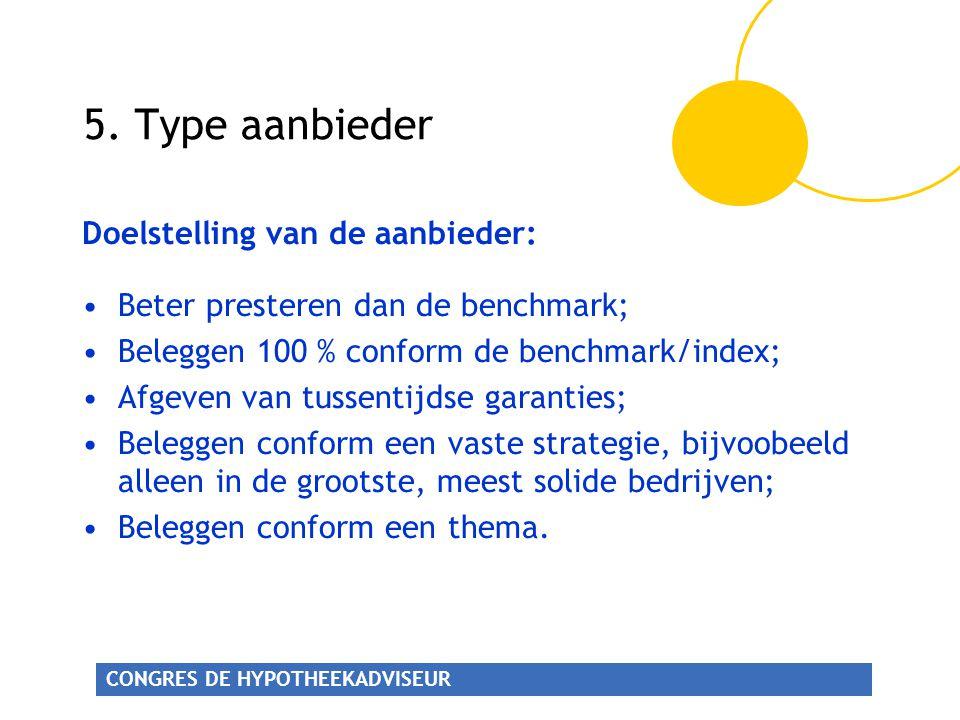 5. Type aanbieder Doelstelling van de aanbieder: