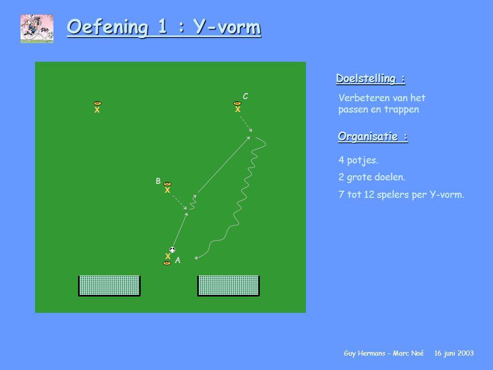 Oefening 1 : Y-vorm Doelstelling : Organisatie :