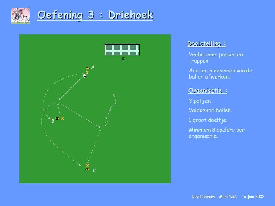 Oefening 3 : Driehoek Doelstelling : Organisatie :