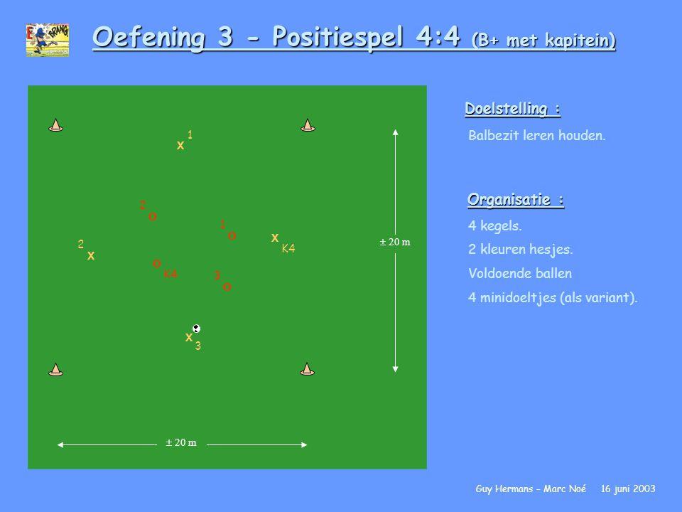 Oefening 3 - Positiespel 4:4 (B+ met kapitein)