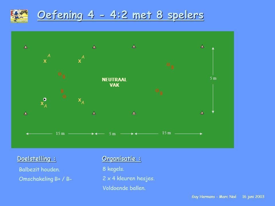 Oefening 4 - 4:2 met 8 spelers