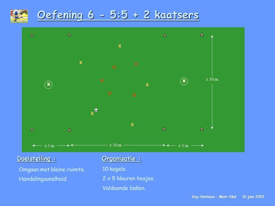 Oefening 6 - 5:5 + 2 kaatsers Doelstelling : Organisatie :
