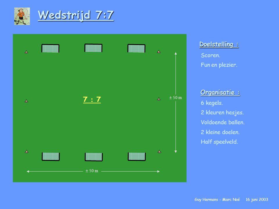 Wedstrijd 7:7 7 : 7 Doelstelling : Organisatie : Scoren.