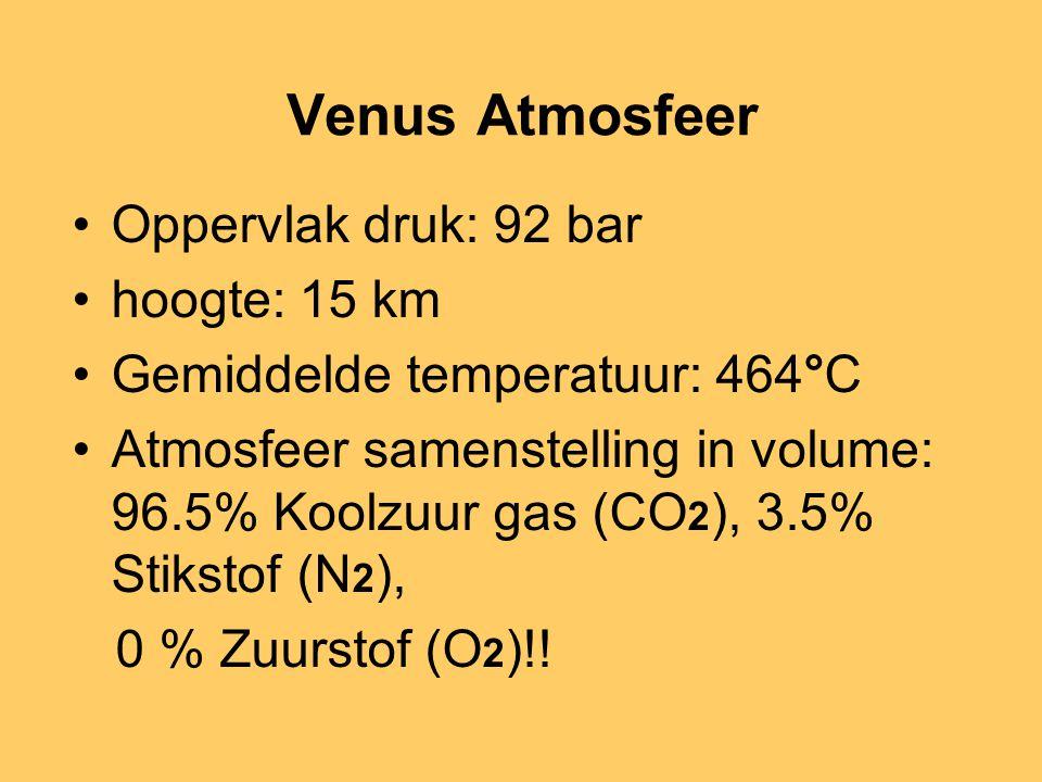 Venus Atmosfeer Oppervlak druk: 92 bar hoogte: 15 km