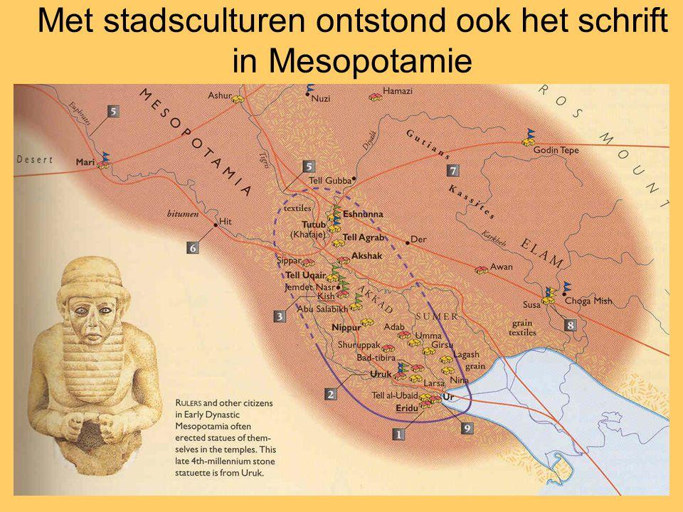 Met stadsculturen ontstond ook het schrift in Mesopotamie