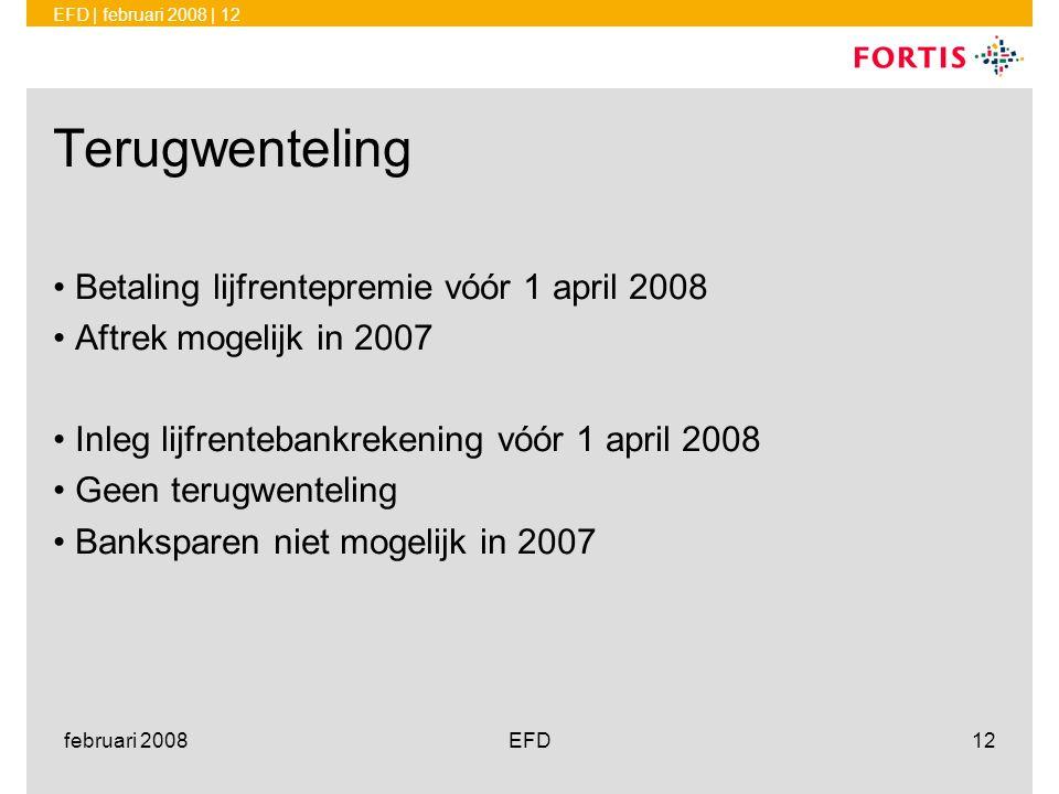 Terugwenteling Betaling lijfrentepremie vóór 1 april 2008