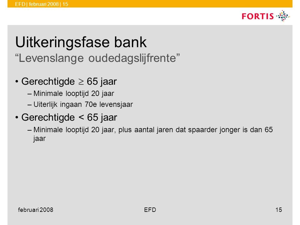 Uitkeringsfase bank Levenslange oudedagslijfrente