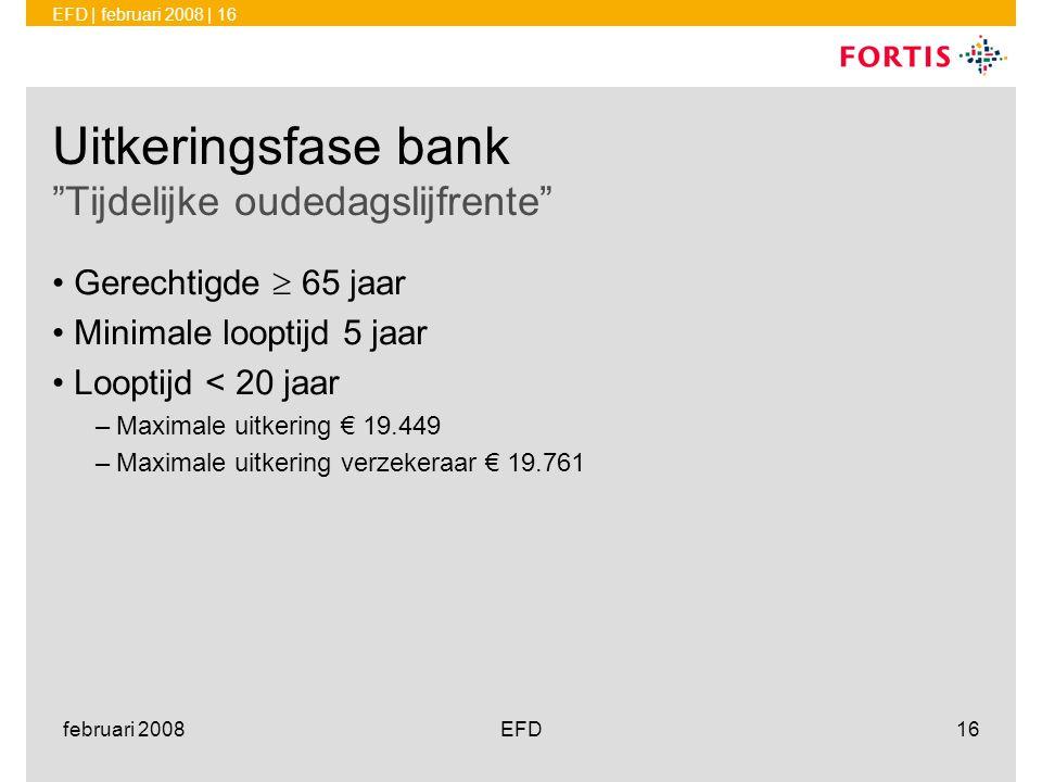 Uitkeringsfase bank Tijdelijke oudedagslijfrente