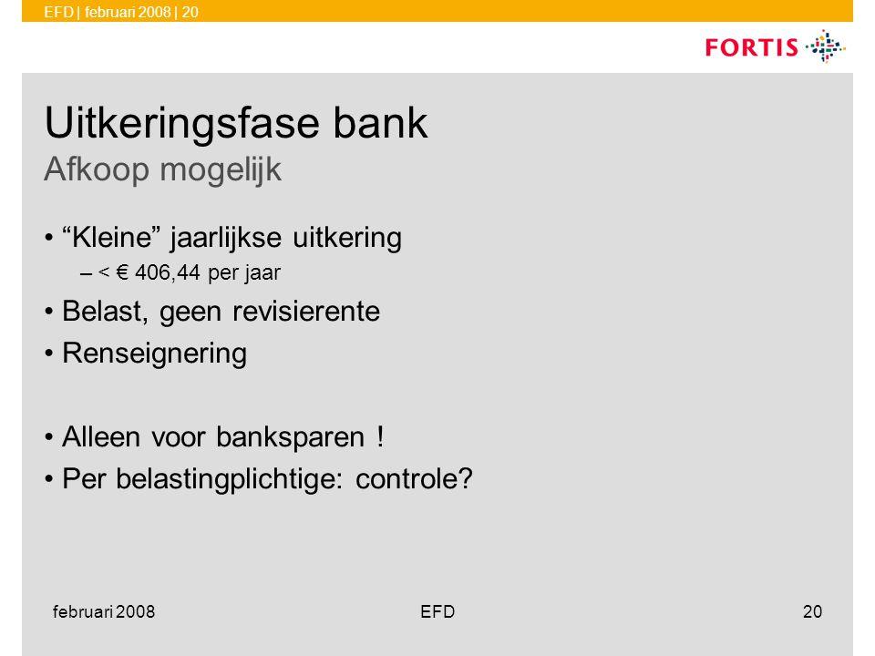 Uitkeringsfase bank Afkoop mogelijk