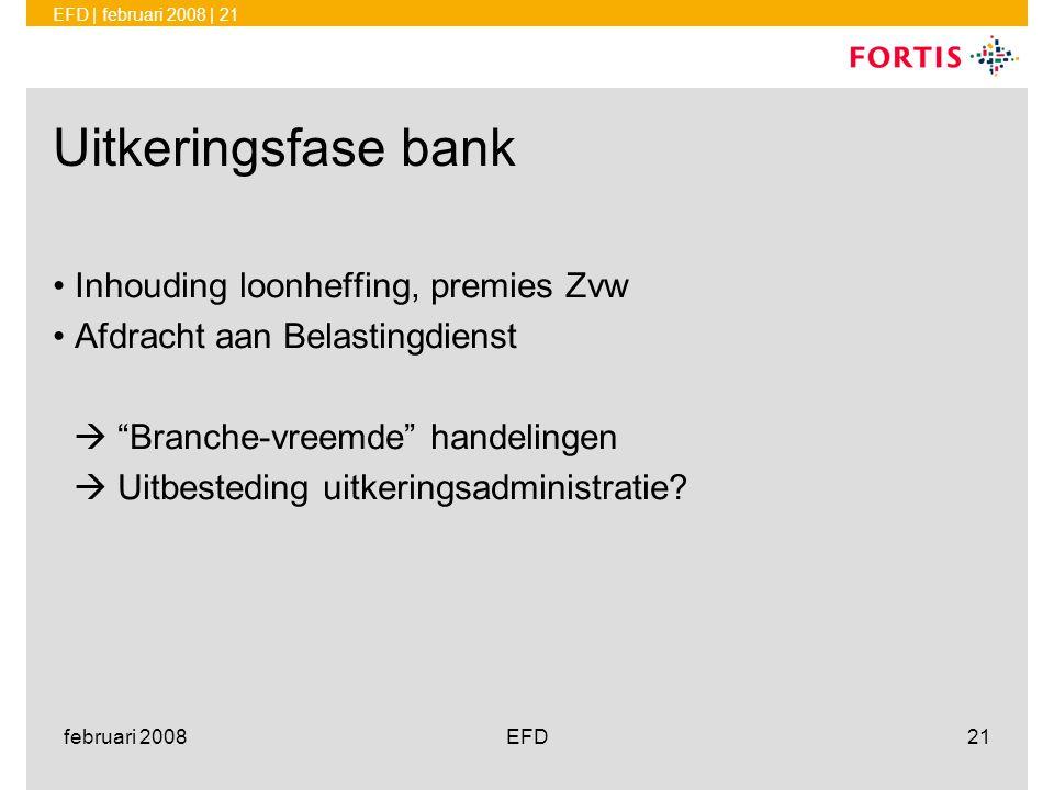 Uitkeringsfase bank Inhouding loonheffing, premies Zvw