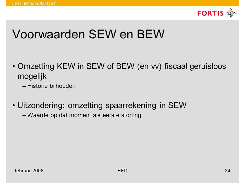 februari 2008 Voorwaarden SEW en BEW. Omzetting KEW in SEW of BEW (en vv) fiscaal geruisloos mogelijk.