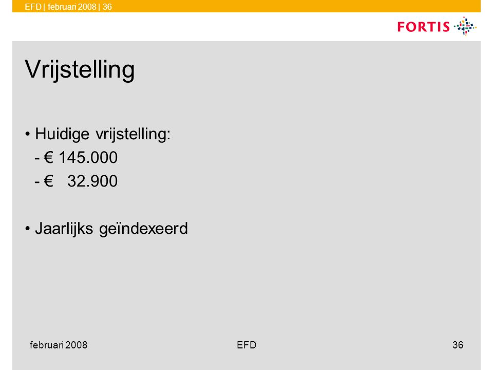 Vrijstelling Huidige vrijstelling: - € 145.000 - € 32.900