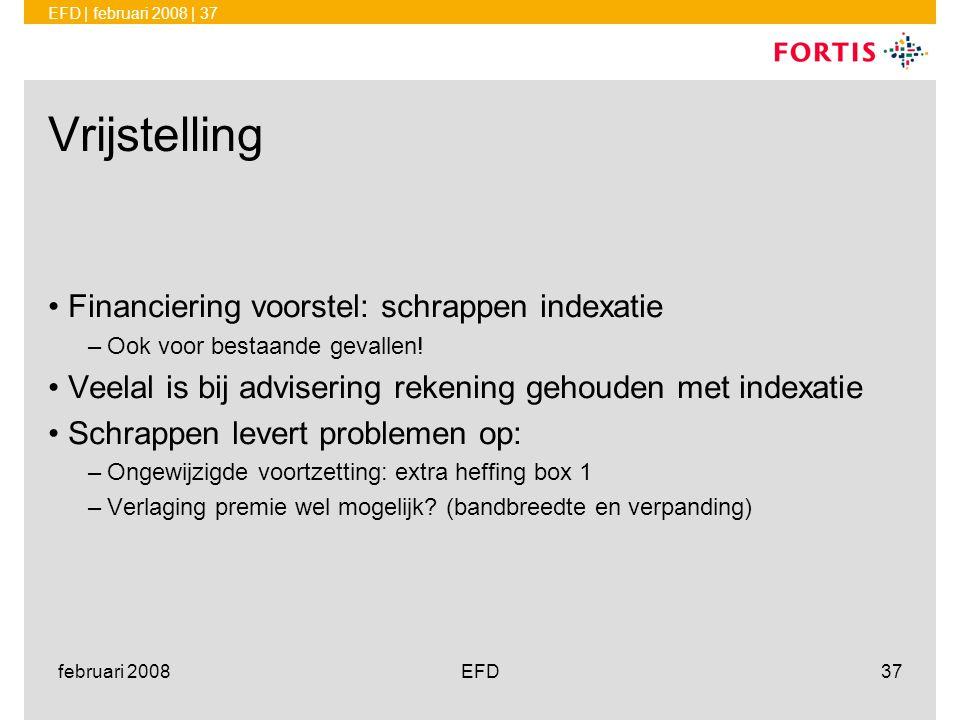 Vrijstelling Financiering voorstel: schrappen indexatie