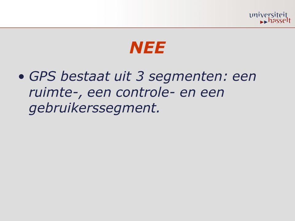 NEE GPS bestaat uit 3 segmenten: een ruimte-, een controle- en een gebruikerssegment.