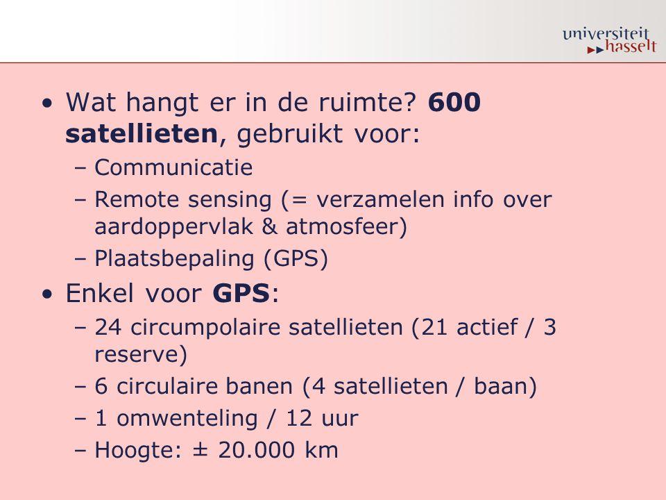 Wat hangt er in de ruimte 600 satellieten, gebruikt voor: