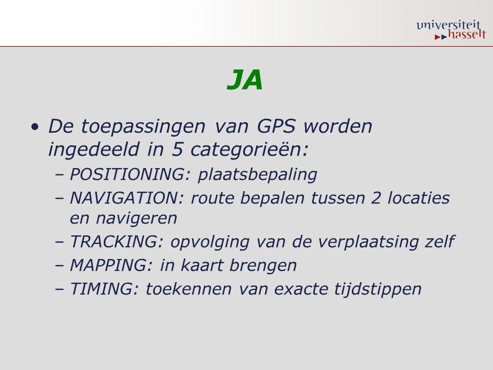 JA De toepassingen van GPS worden ingedeeld in 5 categorieën: