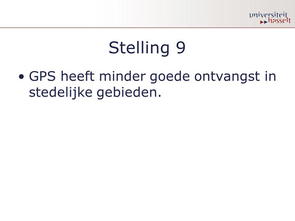Stelling 9 GPS heeft minder goede ontvangst in stedelijke gebieden.
