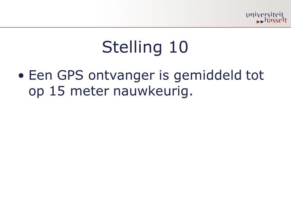 Stelling 10 Een GPS ontvanger is gemiddeld tot op 15 meter nauwkeurig.