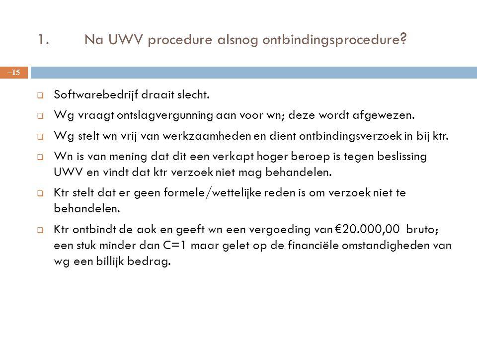 1. Na UWV procedure alsnog ontbindingsprocedure