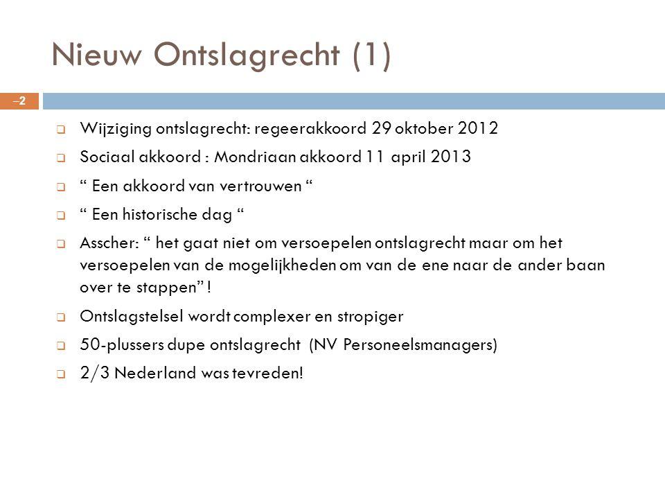 Nieuw Ontslagrecht (1) Wijziging ontslagrecht: regeerakkoord 29 oktober 2012. Sociaal akkoord : Mondriaan akkoord 11 april 2013.