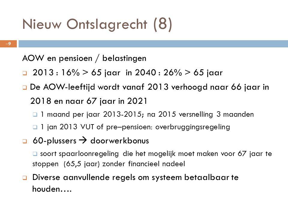 Nieuw Ontslagrecht (8) AOW en pensioen / belastingen