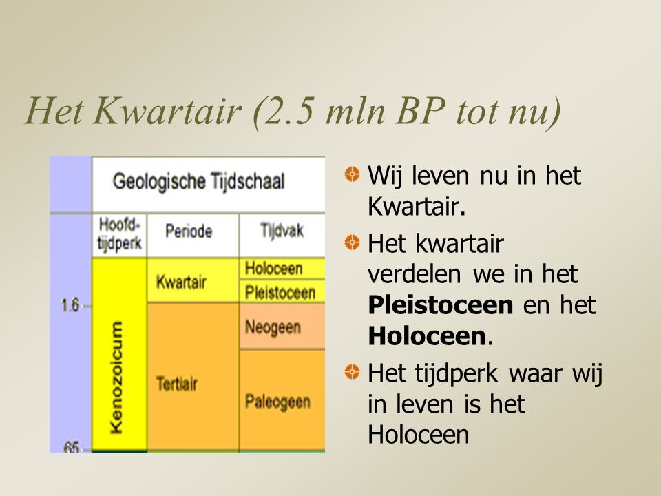 Het Kwartair (2.5 mln BP tot nu)