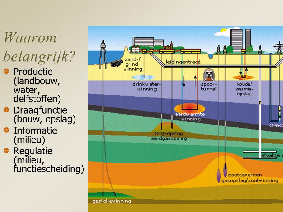 Waarom belangrijk Productie (landbouw, water, delfstoffen)