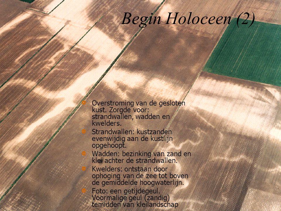 Begin Holoceen (2) Overstroming van de gesloten kust. Zorgde voor: strandwallen, wadden en kwelders.