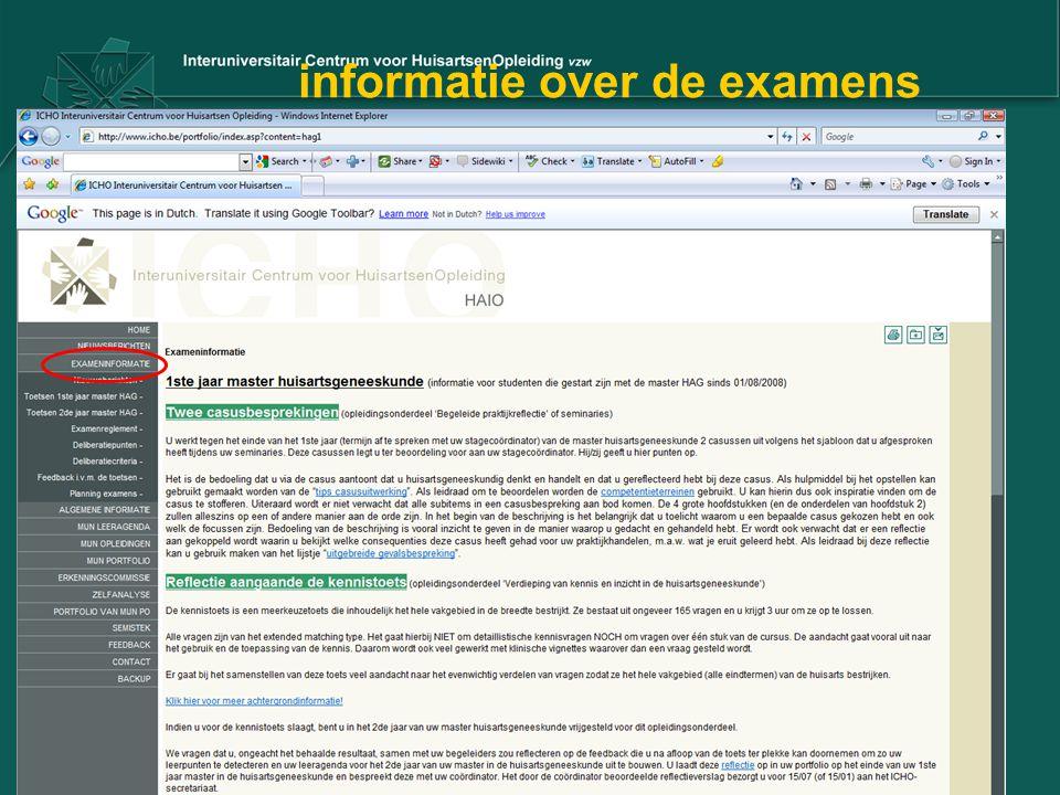 informatie over de examens