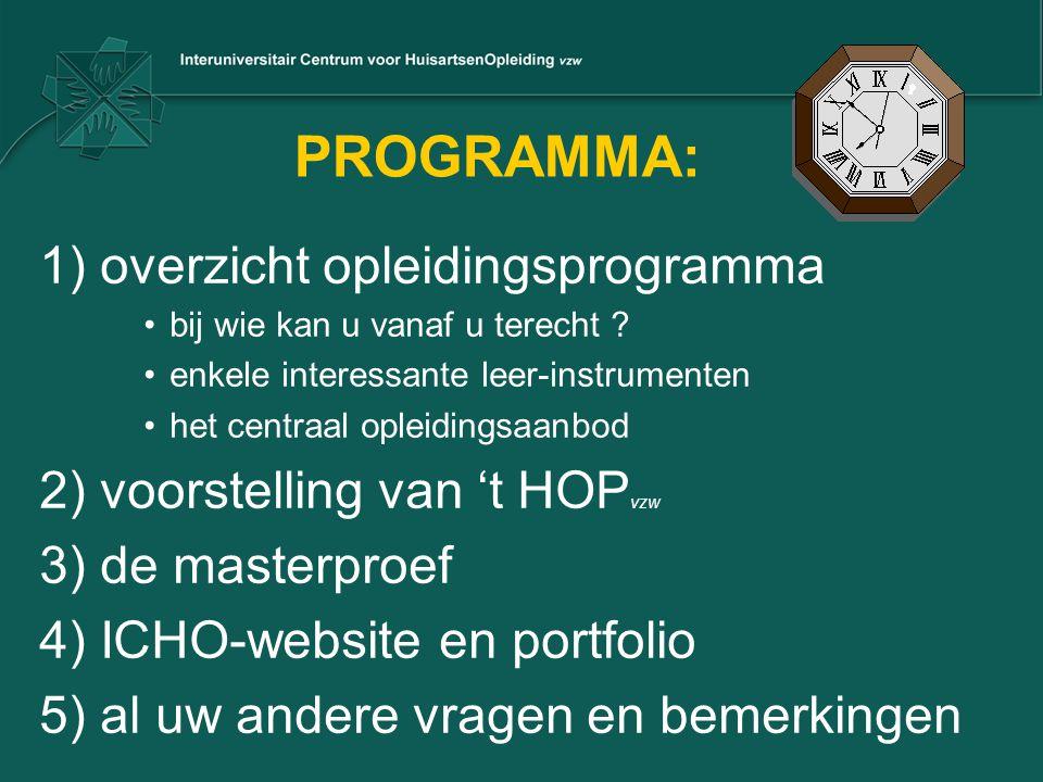 PROGRAMMA: 1) overzicht opleidingsprogramma