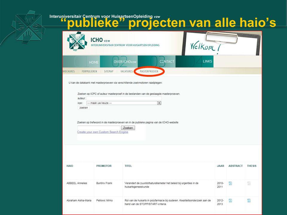 publieke projecten van alle haio's
