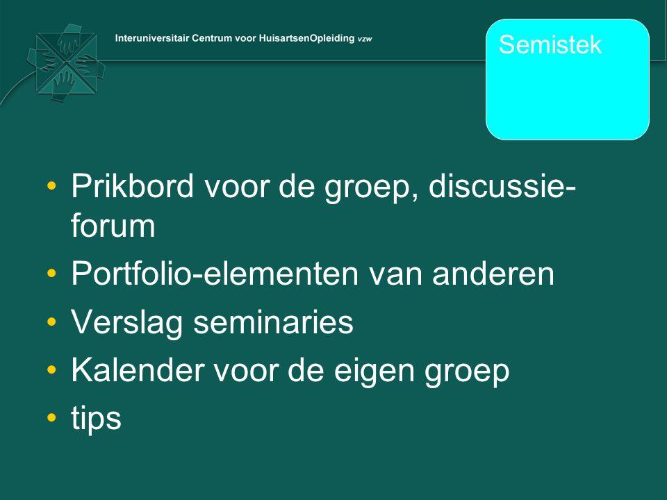Prikbord voor de groep, discussie-forum