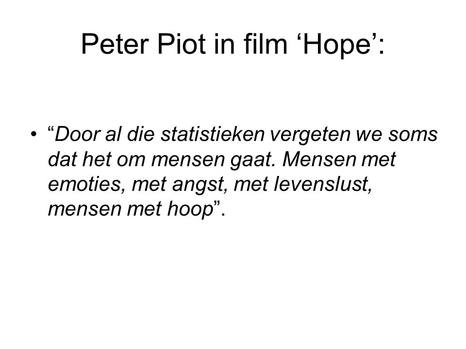 Peter Piot in film 'Hope':