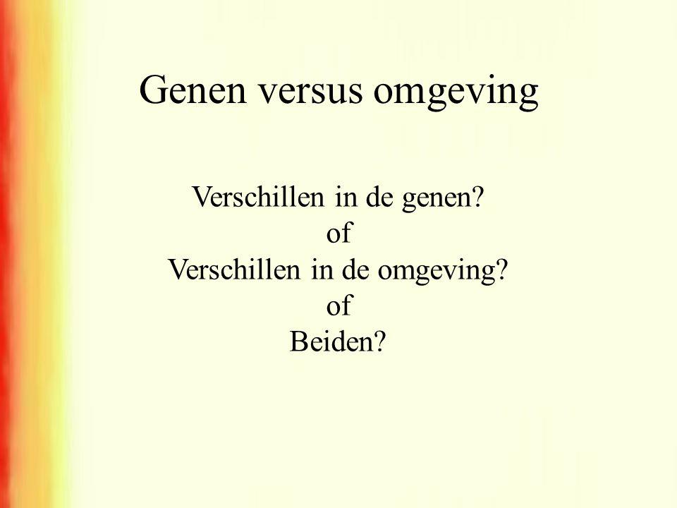 Genen versus omgeving Verschillen in de genen of