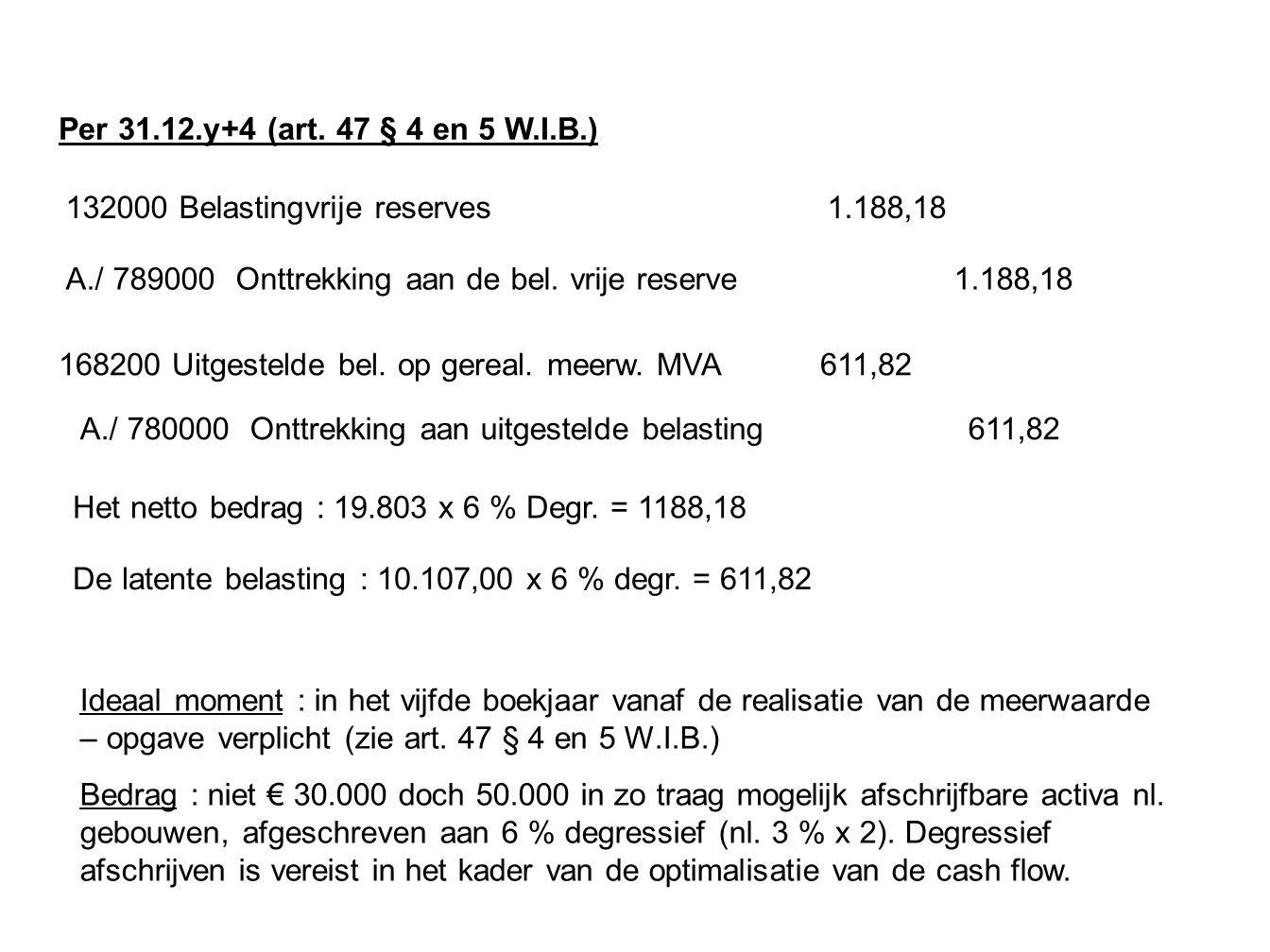 Per 31.12.y+4 (art. 47 § 4 en 5 W.I.B.) 132000 Belastingvrije reserves 1.188,18.
