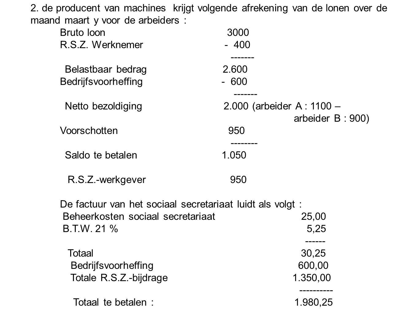 2. de producent van machines krijgt volgende afrekening van de lonen over de maand maart y voor de arbeiders :