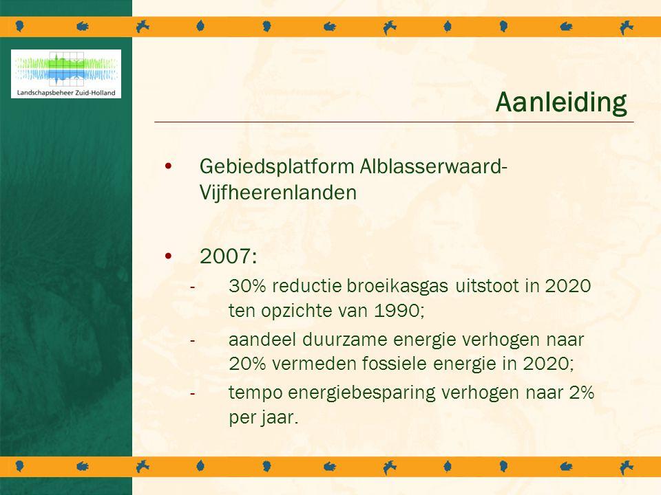 Aanleiding Gebiedsplatform Alblasserwaard-Vijfheerenlanden 2007: