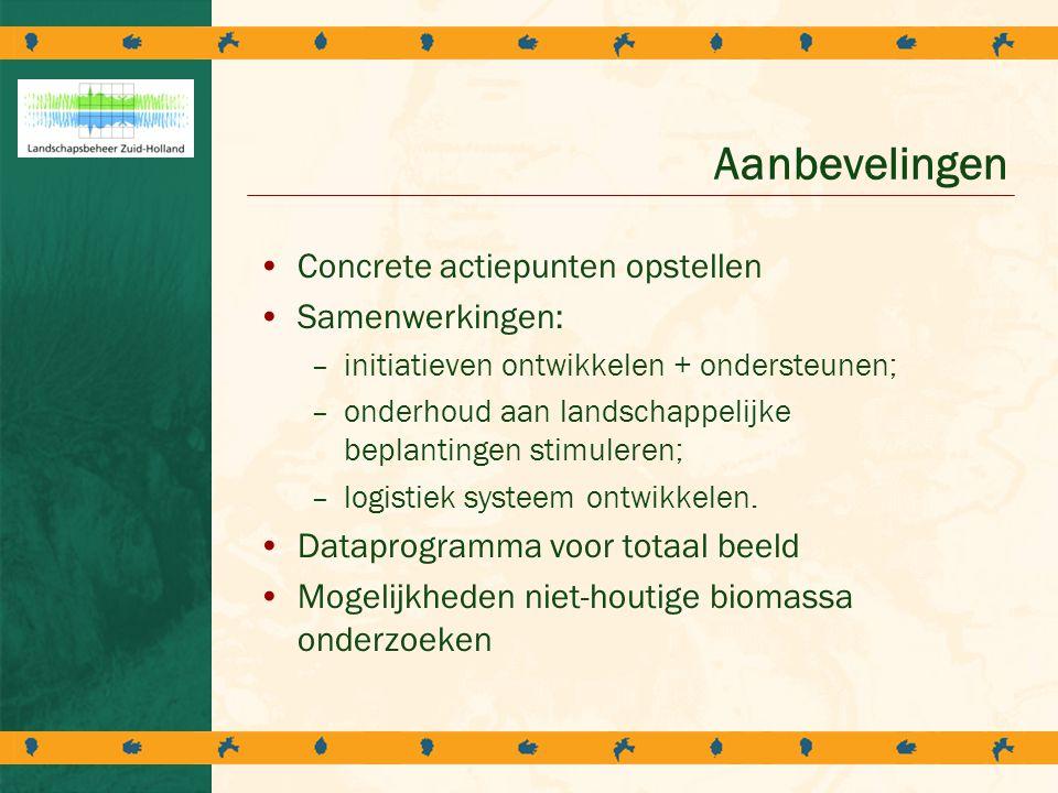 Aanbevelingen Concrete actiepunten opstellen Samenwerkingen: