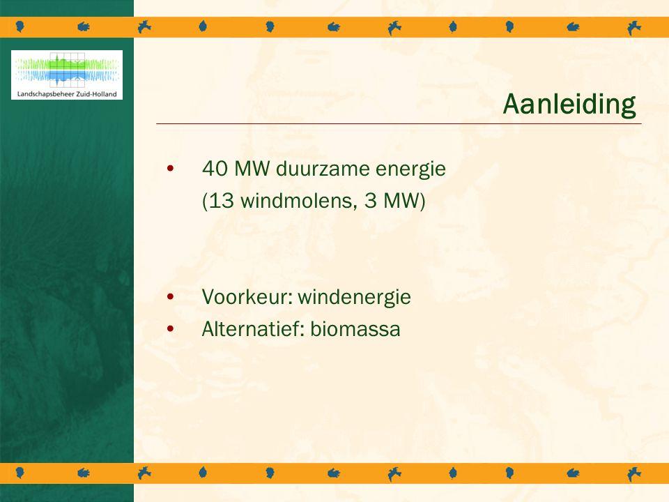 Aanleiding 40 MW duurzame energie (13 windmolens, 3 MW)