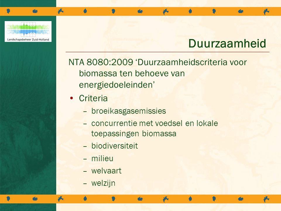 Duurzaamheid NTA 8080:2009 'Duurzaamheidscriteria voor biomassa ten behoeve van energiedoeleinden' Criteria.