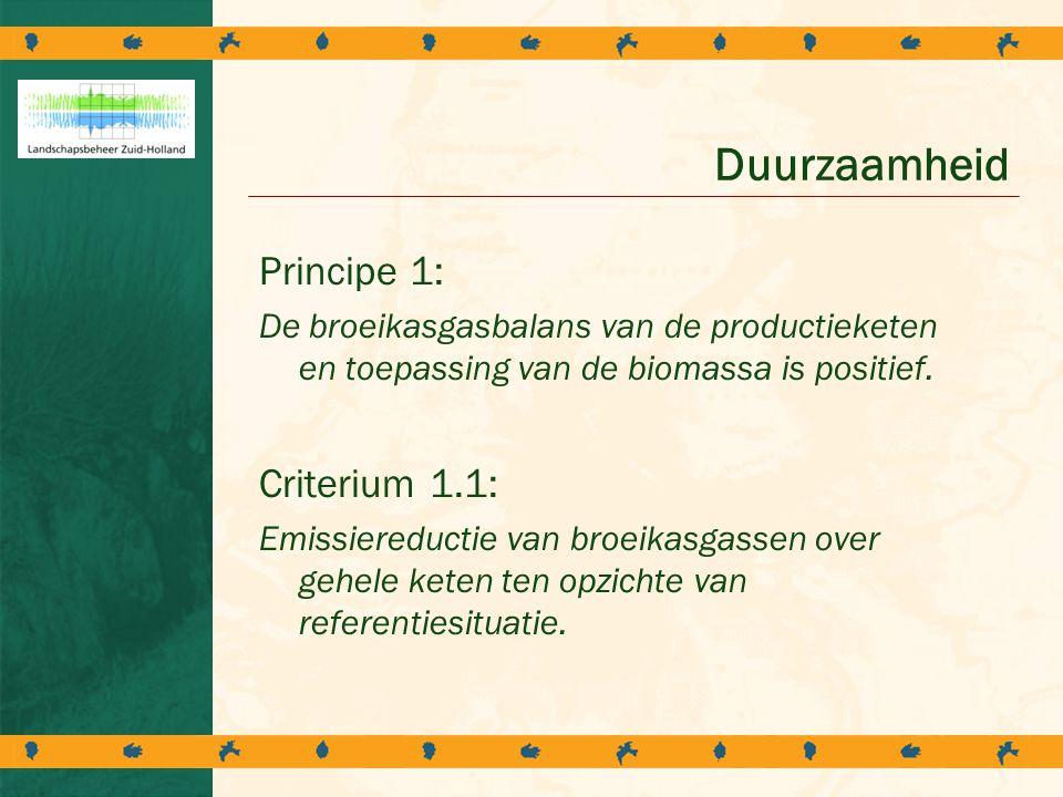 Duurzaamheid Principe 1: Criterium 1.1:
