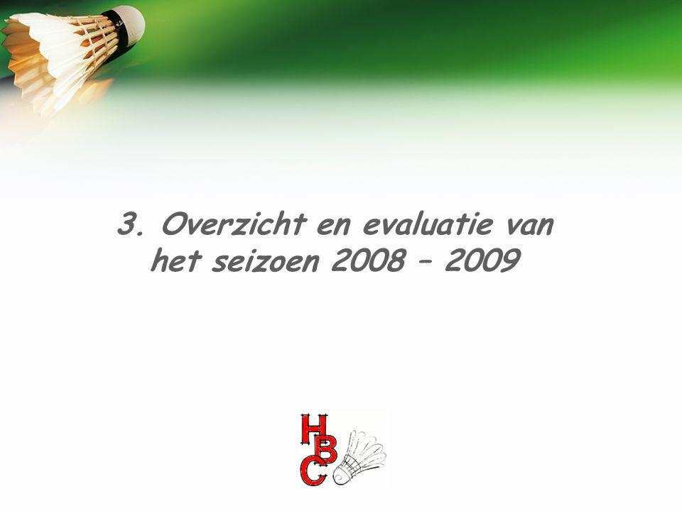 3. Overzicht en evaluatie van het seizoen 2008 – 2009