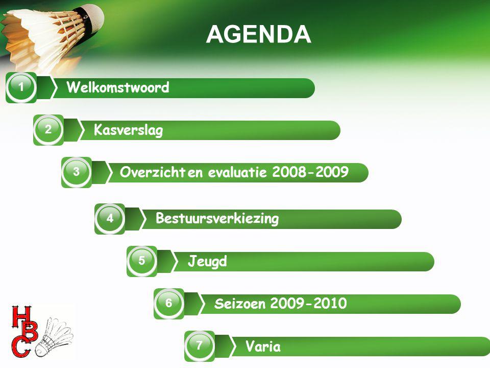 AGENDA Welkomstwoord Kasverslag Overzicht en evaluatie 2008-2009
