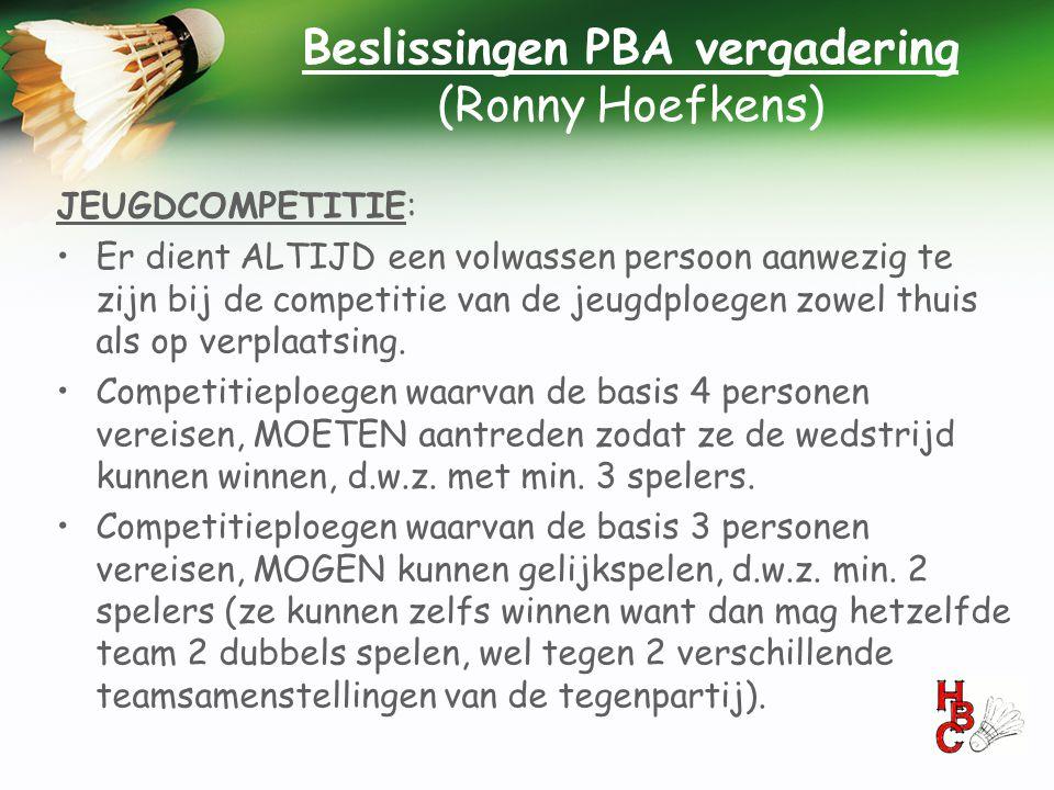 Beslissingen PBA vergadering (Ronny Hoefkens)