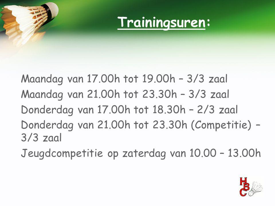 Trainingsuren: Maandag van 17.00h tot 19.00h – 3/3 zaal