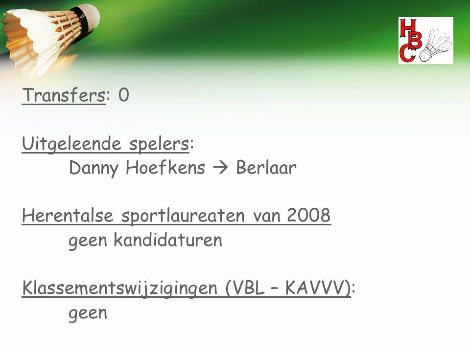 Transfers: 0 Uitgeleende spelers: Danny Hoefkens  Berlaar. Herentalse sportlaureaten van 2008. geen kandidaturen.