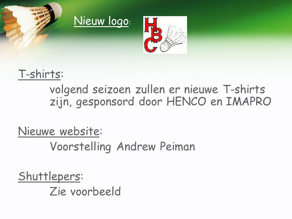 Nieuw logo: T-shirts: volgend seizoen zullen er nieuwe T-shirts zijn, gesponsord door HENCO en IMAPRO.