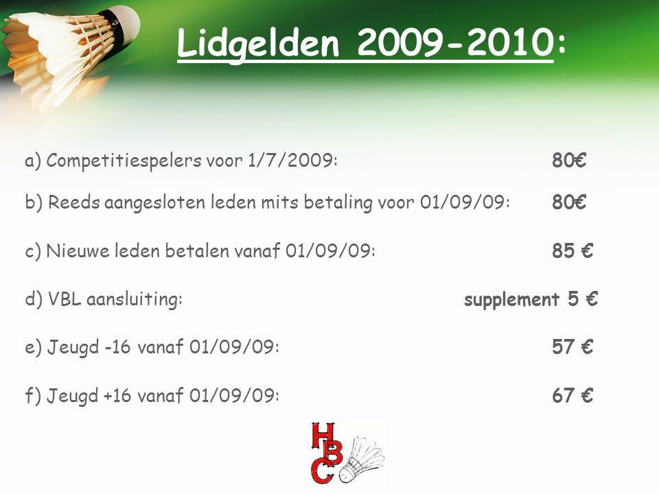 Lidgelden 2009-2010: a) Competitiespelers voor 1/7/2009: 80€